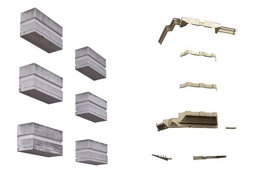"""Das Thema """"Beton im Fokus"""" hat Jan Herkens beim Wort genommen: Via Photoshop hat er seine Bilder auf die Beton-Elemente der fotografierten Gebäude reduziert."""