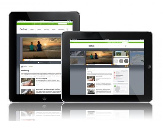 Die neue beton.org-Website auf dem iPad.