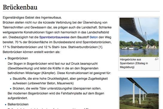 """Die Wiki-Seite """"Brückenbau"""" (Ausschnitt)"""